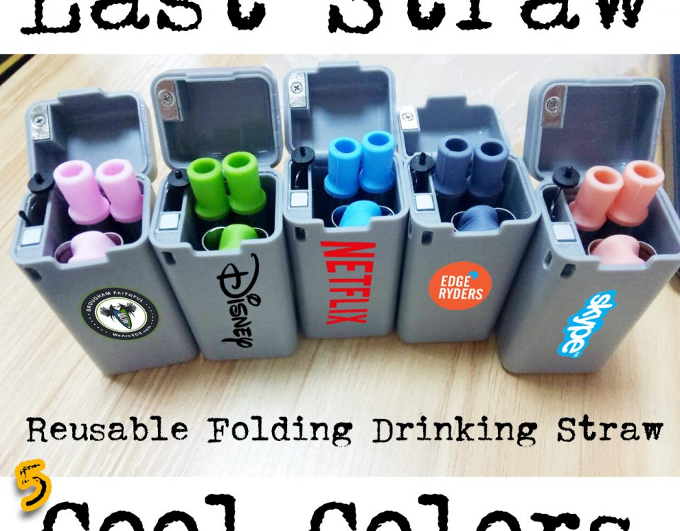 promotional folding reusable drinking straw in 5 colors
