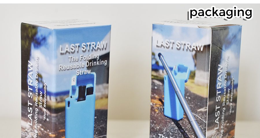 Last Straw packaging. Folding reusable drinking straw.