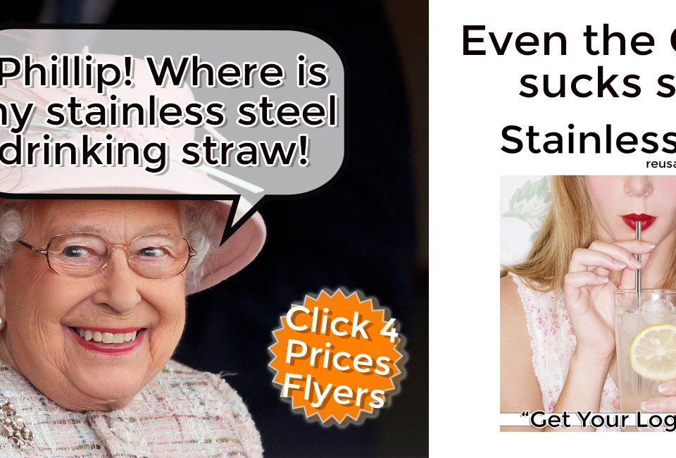 the queen uses a stainless reusable drinking straw
