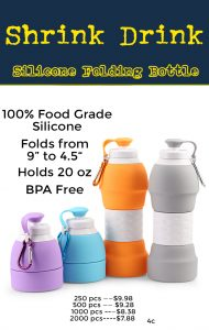 retail coded c shrink drink blue folding silicone water bottle