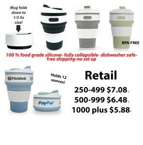retail prices on folding coffee mugs