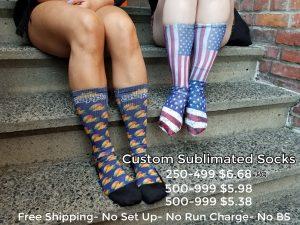 Custom logo socks for promotional product and b2b marketing. Get your logo on sublimated or knit custom socks