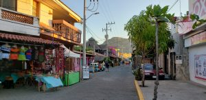Mainstreet of the tiny fishing viallage in Mexico