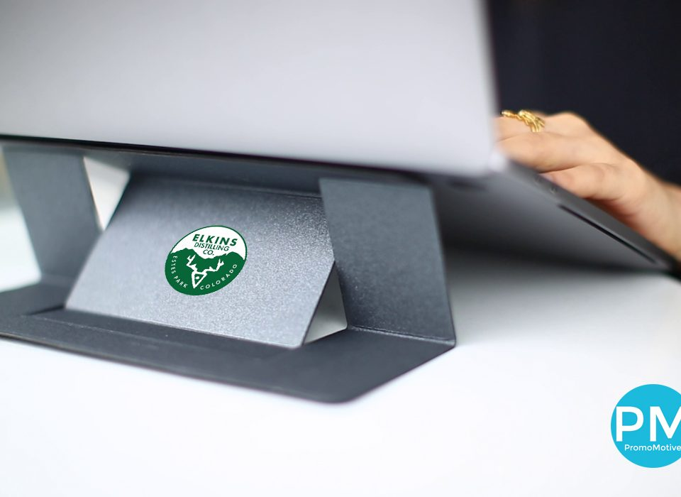 Get your logo on a folding laptop stand. Bulk wholesale promotional product.