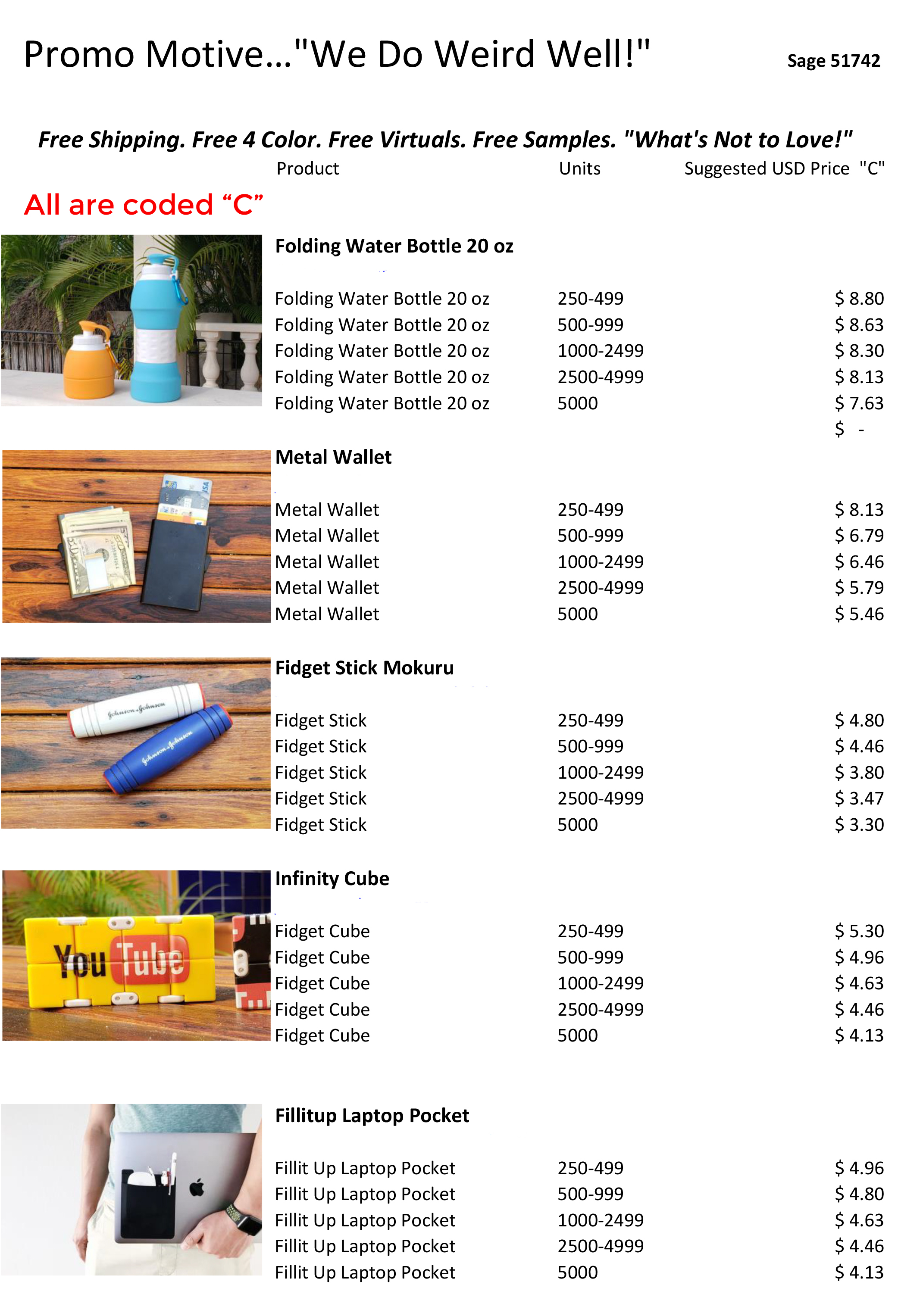 Factory direct promotional product coded prices. Bulk wholesale promotional products. Page 3