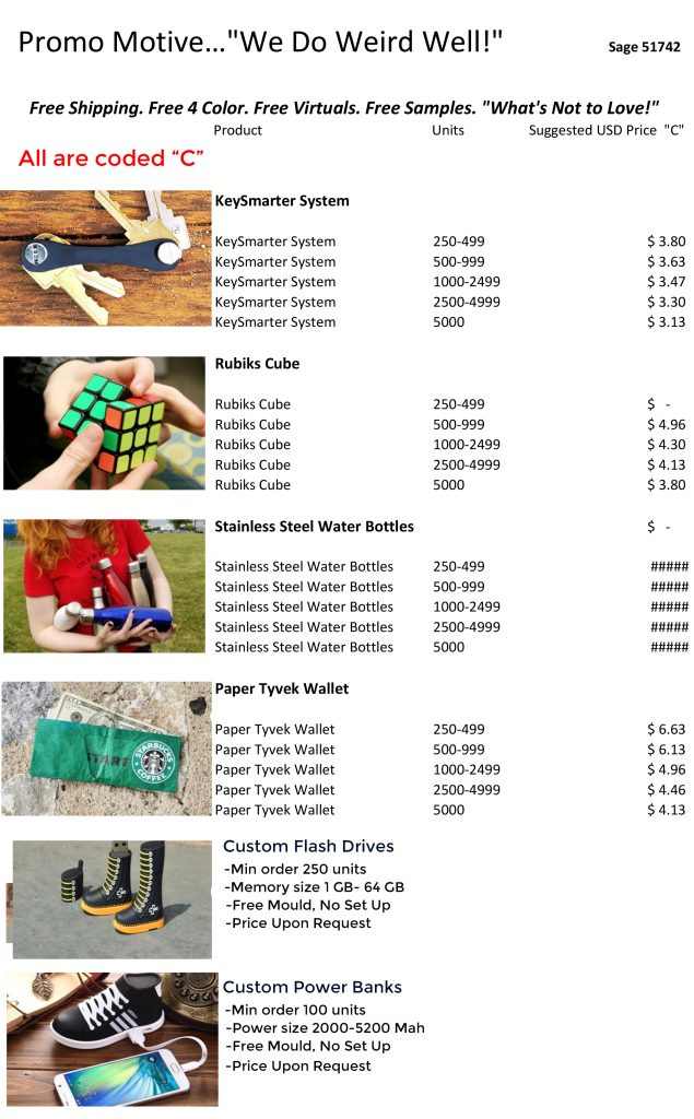 Promotional product price list. Free shipping, free virtual proofs, free set up, free 4 color logo. Inexpensive, wholesale, bulk factroy direct promotional products.