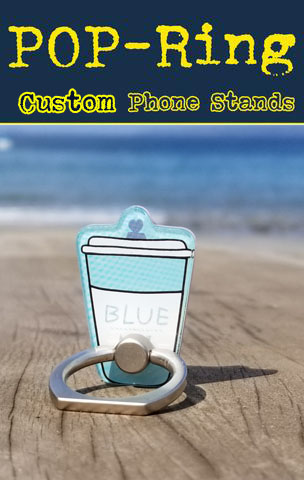 Turn your logo or icon into a custom shape pop phone stand.