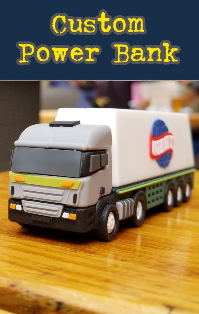 Truck shaped custom power bank portable 3D battery charger.