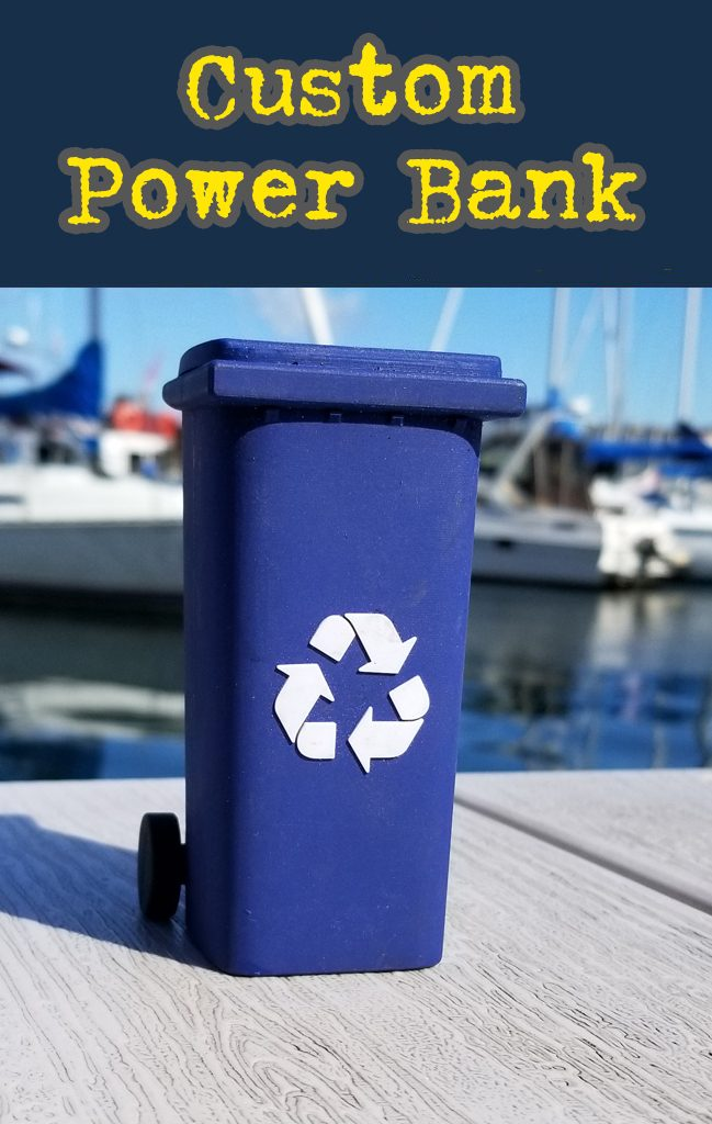 Recycle bin shaped custom power bank portable 3D battery charger.