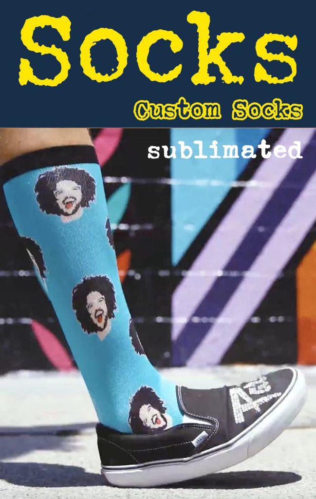 Dye sublimated promotional socks.
