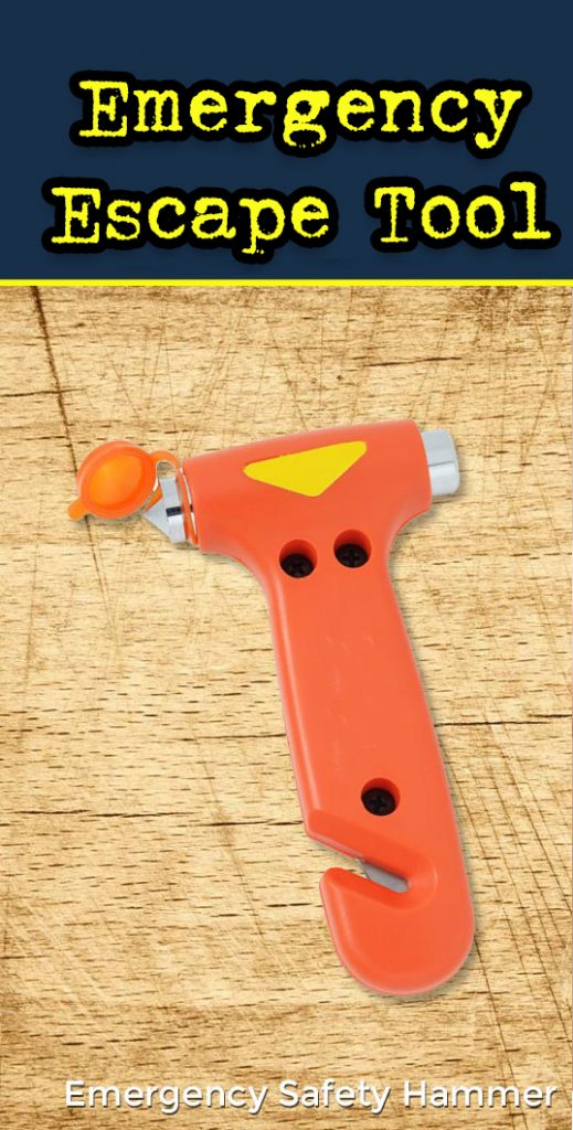 Emergency escape hammer and seatbelt cutter tool.
