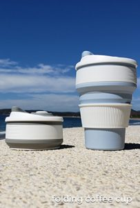 Folding collapsible coffee cups. Get your promotional logo on these cheap bulk promotional drinkware and drinking straws. Inexpensive and effective marketing with stainless steel drinking straws, folding water bottles and folding straws.