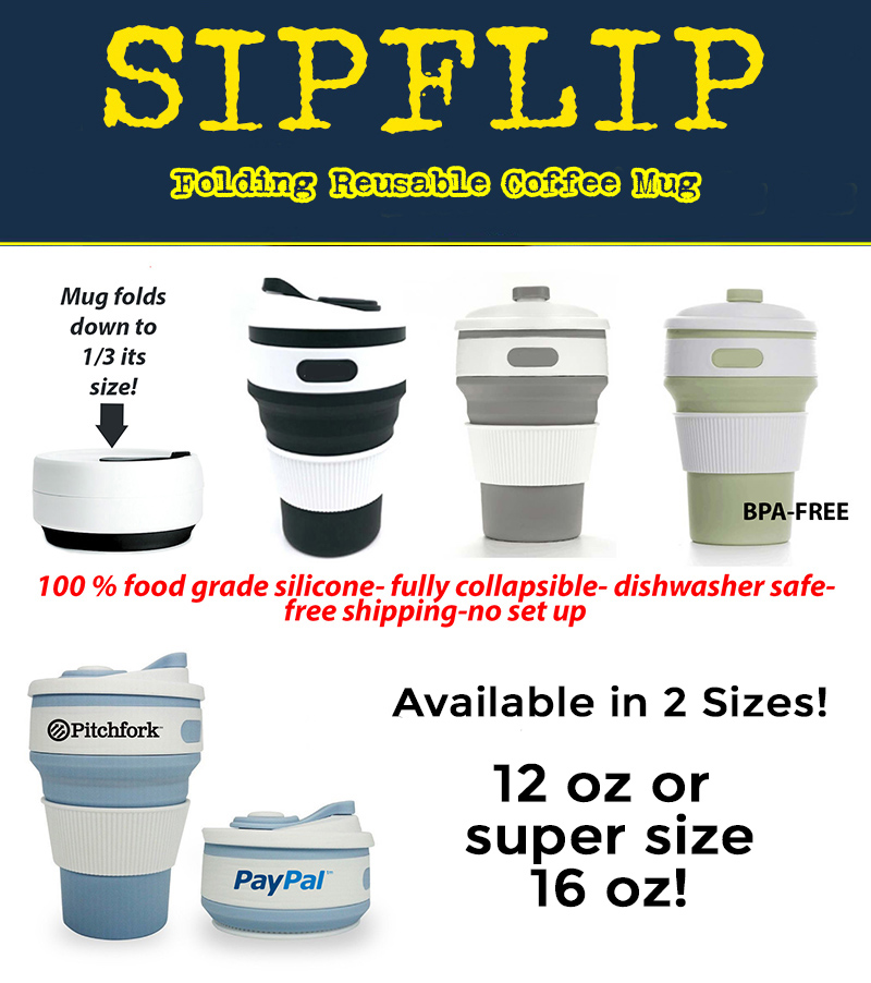Folding reusable silicone coffee cup. Comes in 2 sizes 12 oz and 16 oz.