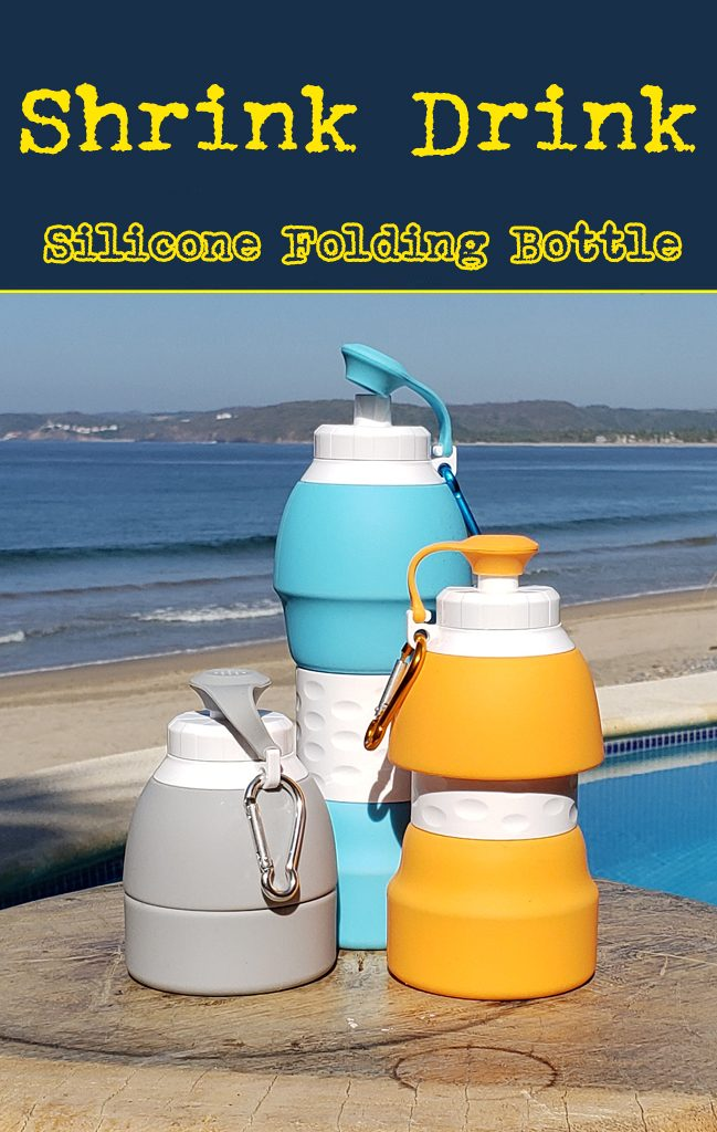 The shrink drink the folding collapsible silicone water bottle. Inexpensive bulk wholesale promotional products.