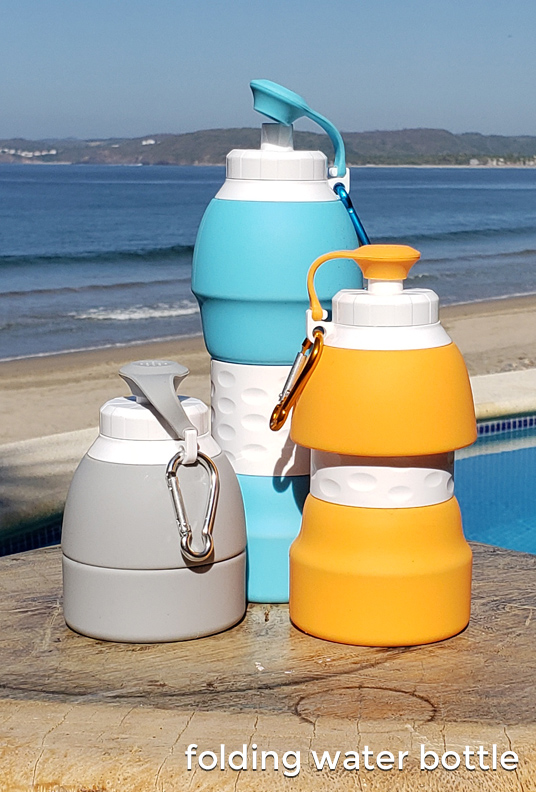 Folding collapsible water bottle. Get your promotional logo on these cheap bulk promotional drinkware and drinking straws. Inexpensive and effective marketing with stainless steel drinking straws, folding water bottles and folding straws.