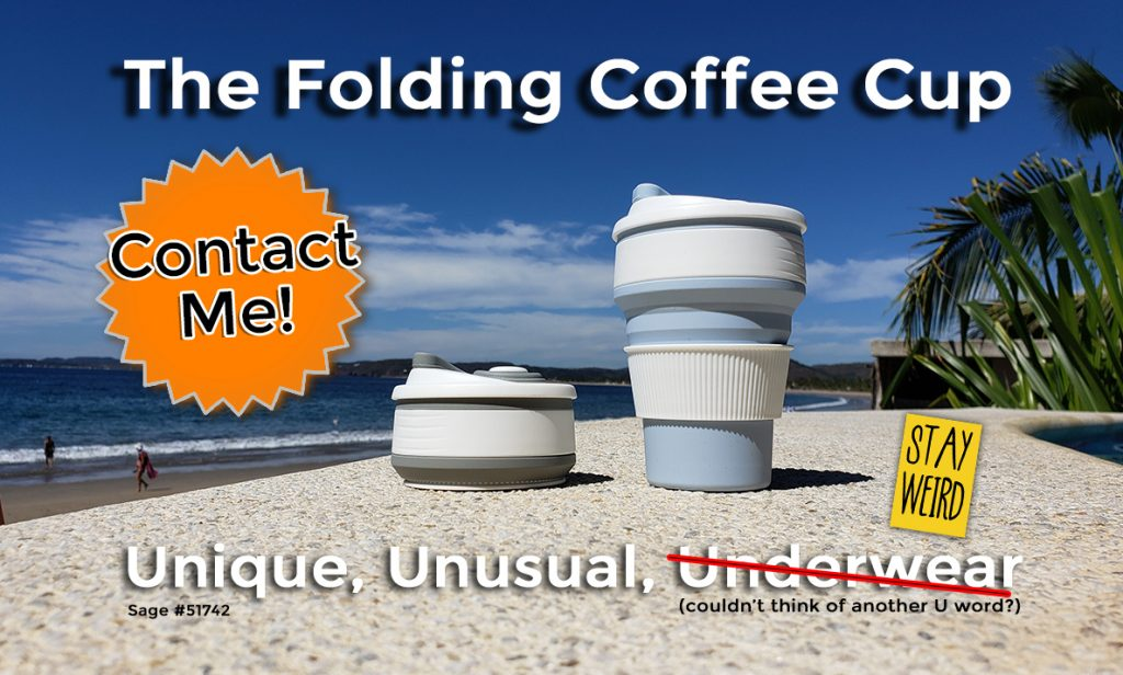 unique unusual underwear folding coffee cup promotional product
