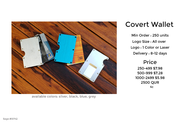 covert wallet promotional product