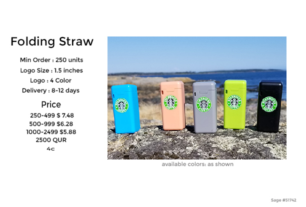 Get your logo on a folding cup, folding straw, folding water bottle or stainless steel drinking straw. Promo Motive
